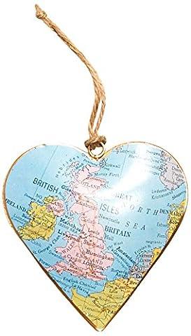 Sass & Belle Large United Kingdom Map Vintage Hanging Heart,
