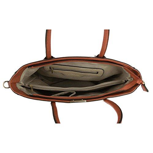 Damen Business Tasche Shopper Workbag Schultertasche Umhängetasche Handtasche Henkeltasche (Beige) Braun