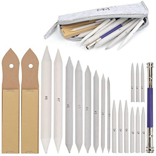 WOWOSS 21pcs Blendende Stümpfe und Tortillions Set Papierwischer Set mit 2 Stück Schleifpapier Bleistiftspitzer und 1 Bleistiftverlängerungswerkzeug zum Skizze Zeichnung