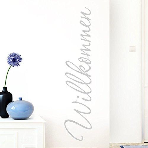 Grandora W1099 Wandtattoo Wort Willkommen I hellgrau 13 x 58 cm I deutsch Flur Diele Eingang selbstklebend Aufkleber Wandaufkleber Wandsticker