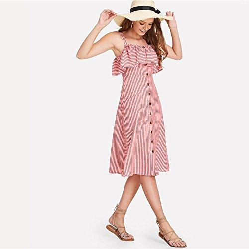 XINGMU Shein Volant Verkleidung Gestreiftes Kleid 2018 Sommer Spaghettiträger Ärmelloses Hohe Taille Jugendliches Kleid Mädchen Preppy Kleid Pink Xs