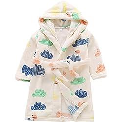 Happy Cherry - Robe de Bain à Capuche Peignoir Enfant Garçon Fille Flanelle Doux Motifs Animal Mignon, Vêtements de Nuit Confortable Chaud pour 3-4 Ans - Beige