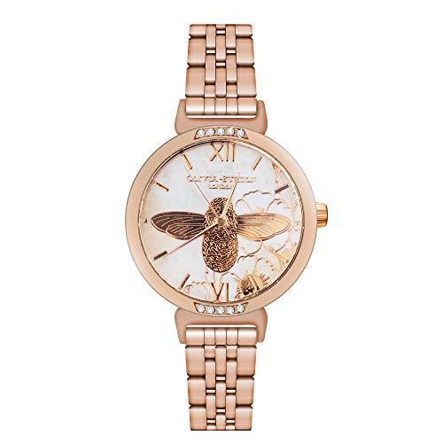 Relojes Pulsera Oro Rosa Abeja Flor Diamante De Imitación Números Romanos Cuarzo...