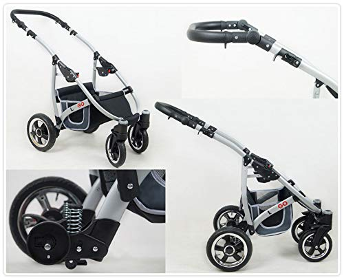 SaintBaby Stroller Pram 2in1 3in1 Set All in one Baby seat Buggy Pushchair New L-GO Black 3in1 with Baby seat SaintBaby 3in1 or 2in1 Selectable. At 3in1 you will also receive the car seat (baby seat). Of course you get the baby tub (classic pram) as well as the buggy attachment (sports seat) no matter if 2in1 or 3in1. The car naturally complies with the EU safety standard EN1888. During production and before shipment, each wagon is carefully inspected so that you can be sure you have one of the best wagons. Saintbaby stands for all-in-one carefree packages, so you will also receive a diaper bag in the same colour as the car as well as rain and insect protection free of charge. With all the colours of this pram you will find the pram of your dreams. 7