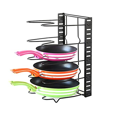 Home-organizer Tech Foldable and Adjustable Self Draining Drying Drainer Rack Pot Lid Rack Pan Organizer Rack with 5 Shelves