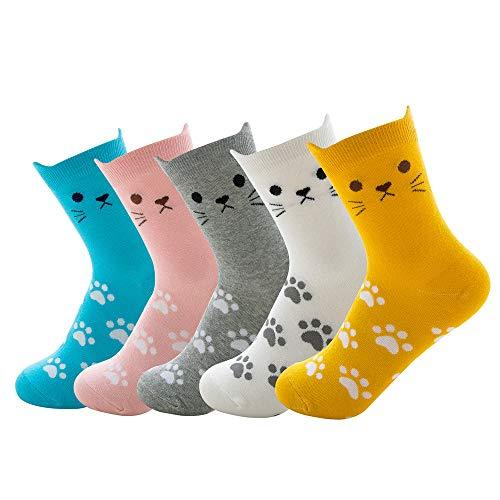 Okany 6 pares de Dibujos Animados Coloridos Patrón de Gato Regalo Conjunto Calcetines Divertido Diseño Lindo para Adultos