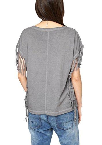 s.Oliver Damen T-Shirt mit Fransendetails Grau (pearl grey 9464)