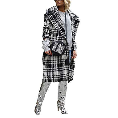 KCatsy Donna Cappotto Giacche Plaid Tweed Tartan Percalle Borsone Woren Wollen Cocoon Risvolto Largo Long Fashion Overwear(Bianco Nero,2XL(IT 48))