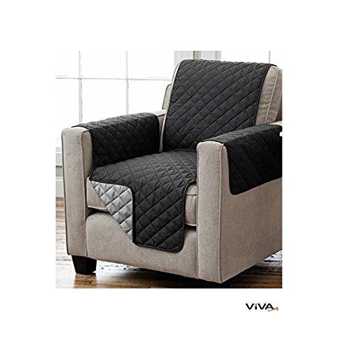 Wende Sesselschoner Sofaschoner Sesselschutz mit Armlehnen und Taschen 191 x 165 cm schwarz/anthrazit