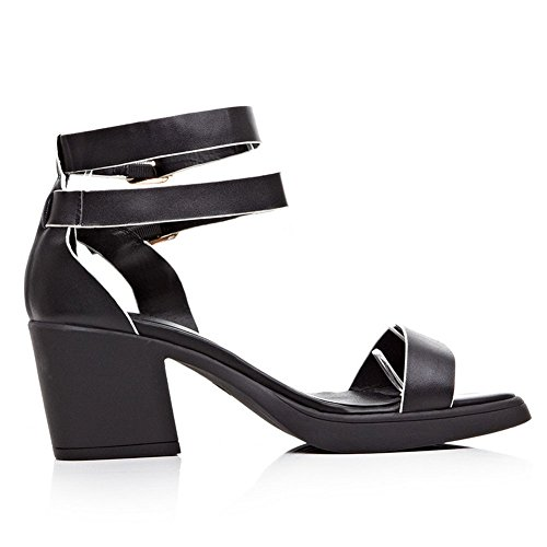Adee Femme Boucle Solide Matériau doux Sandales Noir - noir