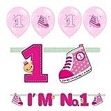 Feste Feiern Geburtstagsdeko 1. Geburtstag Mädchen | 5 Teile All-In-One Deko Luftballons Girlande Banner Rosa Party-Set Happy Birthday