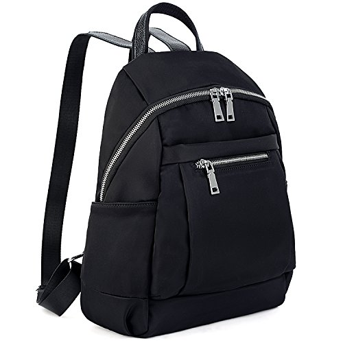 UTO Fashion Backpack Waterproof Nylon Daily Rucksack Real Clipping Leather Strap Shoulder Purse -