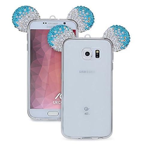 URCOVER Étui Souris-Oreilles Mouse TPU | Samsung Galaxy S6 | Silicone Turquoise Argent | Back-cas Housse Vogue Briller Coque Transparent Paillettes Strass Bling Diamant Chanel