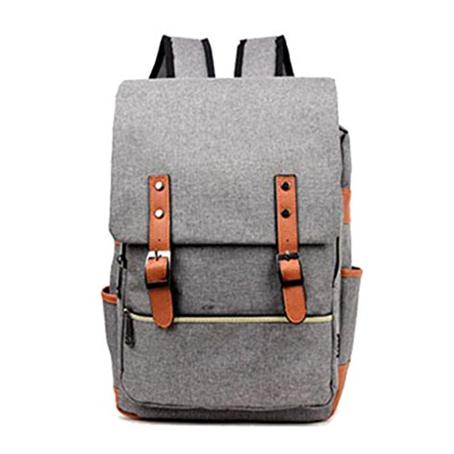 KCJELK Vintage Women Lona Back Packs for Teenage Girls School Bags Large Men Backpack, Unisex, Gray Backpack, 15 Inch Laptop Bag