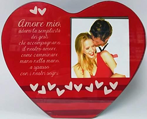 Virca san valentino portafoto cornice da tavolo vetro a forma di cuore 25x20 amore mio