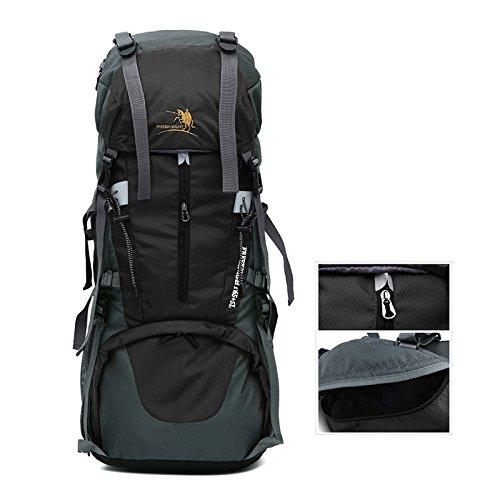 LINGYU Großer Trekking Rucksack 65+5L Wasserdicht Wanderrucksack aus Strapazierfähigem Nylon Klettern Wandern Trekking Reisen Sport und Camping Rucksack