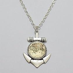 Anchor collar mapa del mundo collar de joyas Gorgeous Collar mejor amigo mundo mapa joyas