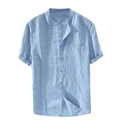 Routinfly Neu Herren Baggy Baumwolle LinenT Shirts, Männer Sommer Casual Solid Color Kurzarm Retro T Shirts Tops Bluse -