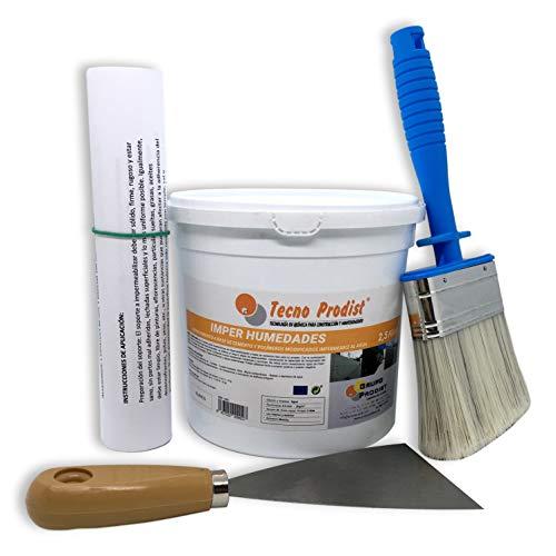 IMPER HUMEDADES de Tecno Prodist - (2,5 Kg + Kit) - Mortero para revestimiento de Impermeabilización. Tratamiento humedades muros, sótanos, etc. Impermeable al agua, fácil de usar + Accesorios