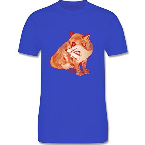 Eulen, Füchse & Co. - Fuchs Süss Zeichnung - Herren Premium T-Shirt Royalblau