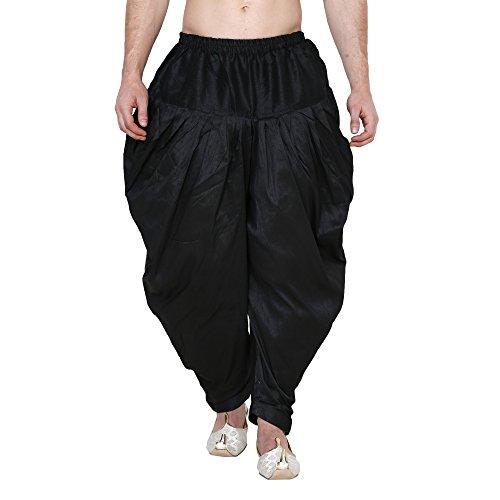 Royal Men's Silk Blend Patiala Salwar Alladin Pant's (BLACK)