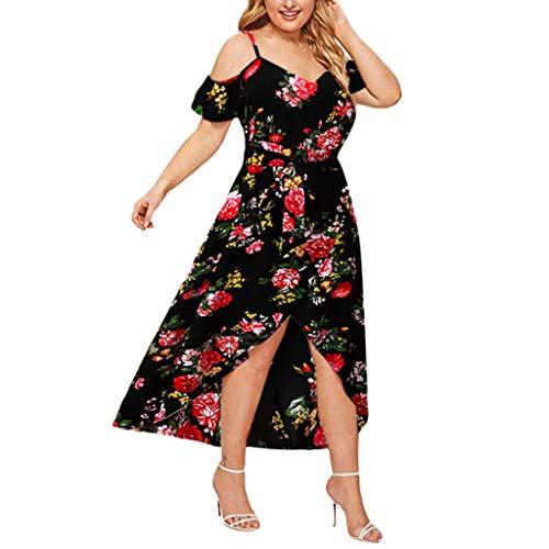 Evansamp_Kleid Sommerkleid Damen Elegant Kleider,Frauen Plus Size Sommer V-Ausschnitt Blumendruck Boho Ärmelloses Party Maxi-Kleid Von Evansamp(Schwarz,XXXXXL) - Bademode Plus Länge Größe