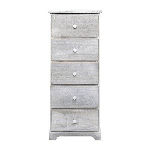 Mobili rebecca® cassettiera comodino 5 cassetti legno bianco shabby bagno arredamento casa (cod. re4886)