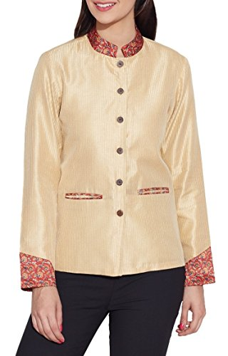 Womens Fashion Accessory Faux Silk Short Jacket ,Cream,W-FSJ34-2515,Size-34 Inch