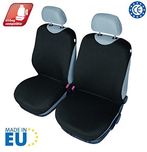 4CARS Coprisedile, Copertura del sedile della maglietta, Universale Set da 2 pezzi per sedili anteriori, Airbag laterale compatibile (nero)