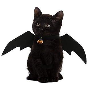 NICREW Halloween Maskottchen Kostüm, Fledermausflügel für Haustiere Katze Kostüm, Katze Cosplay Bat Kostüm für Katzenhund Halloween Maskerade-Party