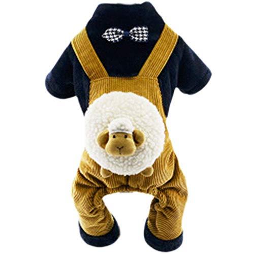 Süß Hund Herbst und Winter Kleid Fliege Brot Form Warme Kleidung Vier Beine Kleidung Teddy Kleine und Mittlere Hundebekleidung (Farbe : Yellow, Größe : ()