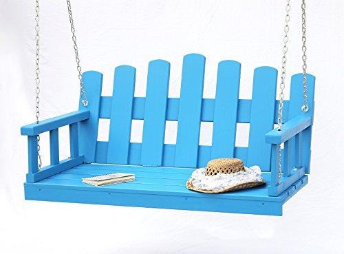 DanDiBo Banc suspendu bleu Balançoire avec chaine et coussin Balançoire de jardin Balancelle