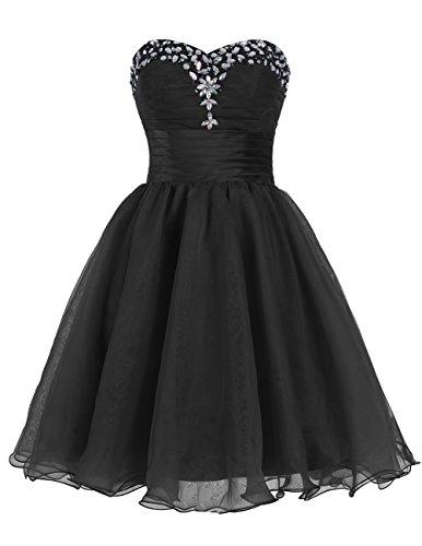 Dresstells Robe de bal Robe de soirée de cocktail courte en tulle bustier en cœur emperlée Noir
