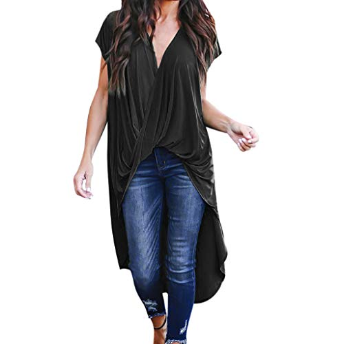 Vimoli Blusen Damen Mode Pure Color Kurzarm Chiffon T-Shirt Asymmetrische Lange Tops (Schwarz,De-50/CN-L)