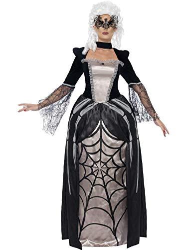 Halloweenia - Damen Frauen Kostüm barockes Spinnen Kleid im Schwarze Witwe Stil, Baroness Black Widow in Spider Print, perfekt für Halloween Karneval und Fasching, L, (Baroness Halloween Kostüme)