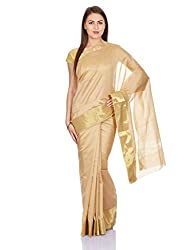Pavechas Saree with Blouse Piece (MK1920_Beige_One Size)