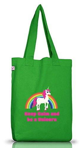 Einhorn Jutebeutel Stoffbeutel Earth Positive mit Rainbow - Keep Calm And Be A Unicorn Motiv Kelly Green