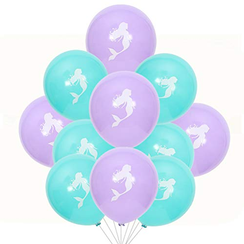 Toyvian 20pcs Sirena impresión Globo Conjunto Hermoso Globo decoración para Fiesta de cumpleaños Festival (Azul 10pcs, púrpura 10pcs, 10 Pulgadas)
