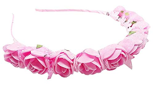 Fameza Pink Satin and Foam Rose Crown with Bow Hair Band for Girls