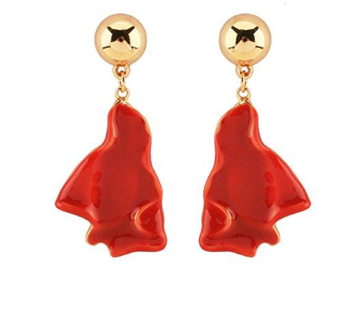 WKAIJCJ Earrings Earrings Ladies Girls Earrings Red Irregular Geometric Bride Jewelry Fashion Creative Temperament 2.5*6.0cm