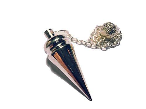 Pendolo di metallo per radiestesia esoterismo (tipo 3 argenteo oblungo)
