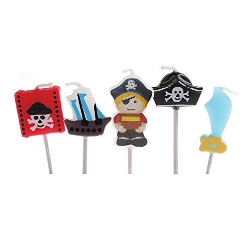 5 Mini-Kerzen * PIRATEN * auf Holzhalter für Party und Geburtstag // Kerzen Kuchen Torte Deko Candle Pirates Piratenschiff Totenkopf Goldschatz