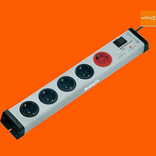 5-fach Master-Slave-Steckdosenleiste Plus Hauptschalter mit 5-Meter-Zuleitung-Kabel | MasterSlave-Mehrfachsteckdose max. 250 V/AC / 3.600 Watt | 0239x00052305 (Modem 16x4)