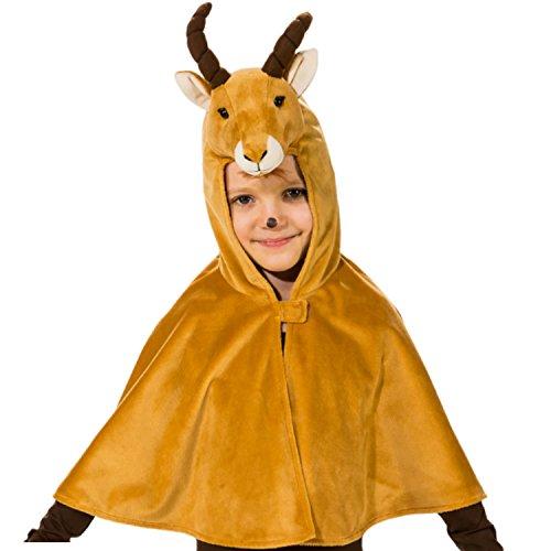 Unbekannt Kinder Cape mit Kapuze Gr. 104 Tier Kostüm Steinbock Fasching Karneval ()
