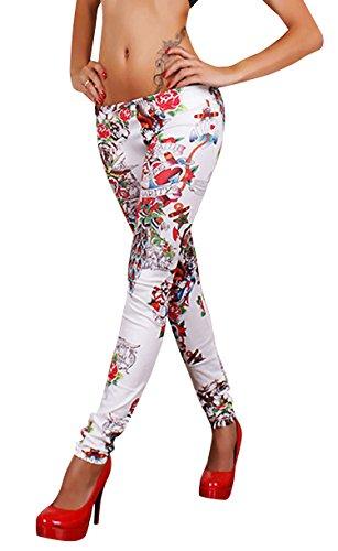 Molly Donna Faux Jeans Stile Elastico Fiore Legging Formato Libero Come Immagine