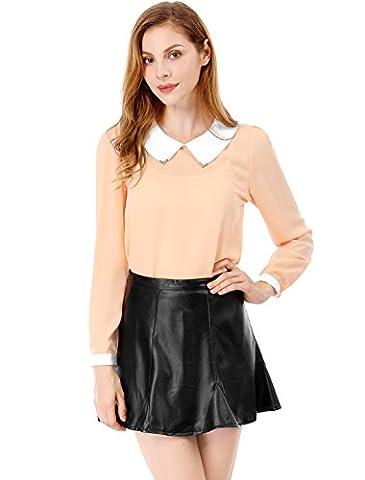 Allegra K Damen Puppe Kragen Langärmlig Pullover Chiffon-hemd, Hellrosa, L (UK 16) (Weiblich Peter Pan Kostüm)