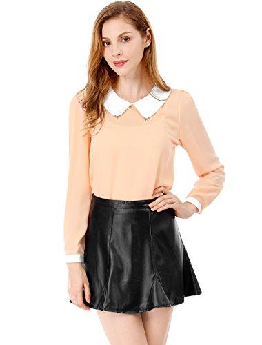 Allegra K Damen Puppe Kragen Langärmlig Pullover Chiffon-hemd, Hellrosa, L (UK (Taste Kostüm Puppe)