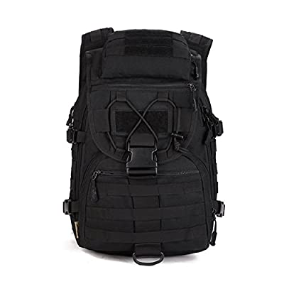 Huntvp Tactical Military Backpack 40L Large Molle Rucksack Waterproof Assault Pack Bag for Hiking Camping Trekking Black - hiking-backpacks