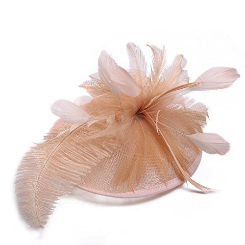 Swallowuk Frauen Mode Elegante Gaze Blume Cocktail Hut Hochzeit Party Hats (Rosa)