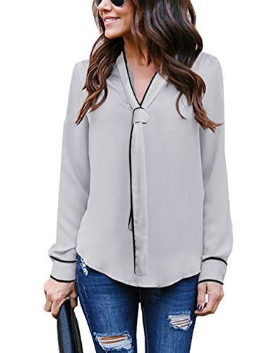 Hownew-X Damen Bluse Elegant Chiffon V-Ausschnitt Langarm Casual Oberteil Lose Langarmshirt V-Ausschnitt Vintage Tunika Hemd T-Shirt (XL, Grau-1)